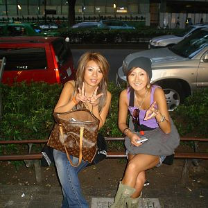 2 kawai gilrs with luis vuton bag at HARAJUKU