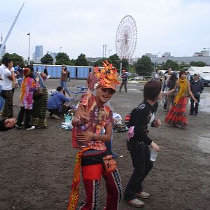 funky dressed guy at nagisha open air party in tokyo