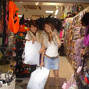 Two girls shopping