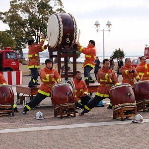 Fire Fighters on taiko's in Meriken park, Kobe