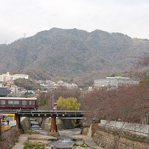Kobe mountains and the Hankyu Train