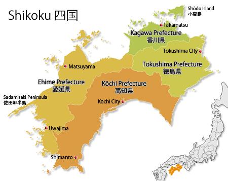 Map Of Shikoku Island