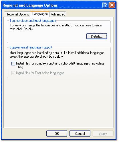 Install files for East Asian Languages