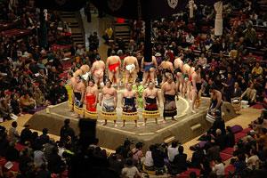 Soroibumi ceremony of the makuuchi (幕内のそろい踏み)