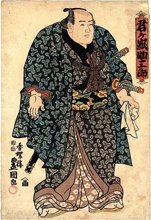 Sumō wrestler, ukiyo-e by Utagawa Kunisada (歌川国貞, 1786-1865)