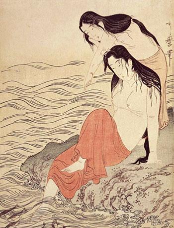 Utamaro divers wearing koshimaki, Tokyo National Museum - 腰巻姿の海女 歌麿筆 東京国立博物館蔵